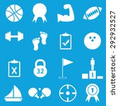 set of 16 sport icons  on blue...