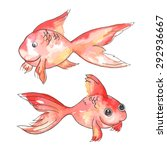 two red watercolor fish vector | Shutterstock .eps vector #292936667