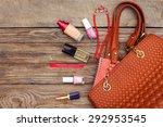 things from open lady handbag.... | Shutterstock . vector #292953545
