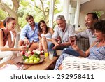 group of friends socialising in ... | Shutterstock . vector #292958411