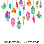 hand drawn colorful watercolor... | Shutterstock .eps vector #292965935
