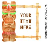 watercolor tiki frame | Shutterstock .eps vector #292967075