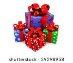 3d illustration of present boxes over white background - stock photo