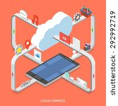 cloud services flat isometric... | Shutterstock .eps vector #292992719