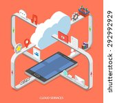 cloud services flat isometric... | Shutterstock . vector #292992929