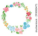 watercolor wreath with flowers... | Shutterstock . vector #293000471