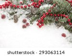 blue spruce in snow and... | Shutterstock . vector #293063114