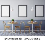 Stock photo mock up posters with retro hipster cafe restaurant interior background d render 293064551