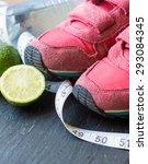sport shoes   lime tennis ball  ... | Shutterstock . vector #293084345