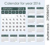 simple 2016 calendar   week... | Shutterstock .eps vector #293086931