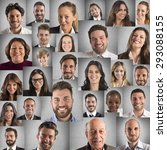 Collage Of People Portraits Of...
