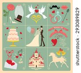 wedding invitation vintage... | Shutterstock . vector #293089829
