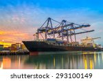 cargo ship loading containers... | Shutterstock . vector #293100149