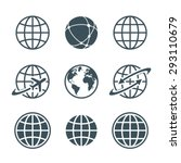 globe  earth  world icons set... | Shutterstock .eps vector #293110679