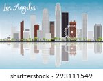 los angeles skyline with grey... | Shutterstock .eps vector #293111549