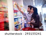 young couple shopping in a... | Shutterstock . vector #293155241