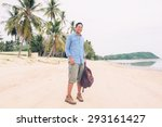 men traveler with backpack  at... | Shutterstock . vector #293161427