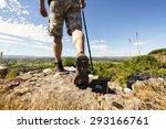 hiker hiking on a mountain... | Shutterstock . vector #293166761