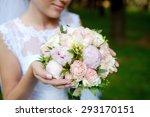 beauty bride in bridal gown... | Shutterstock . vector #293170151