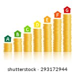 house icons with energy... | Shutterstock .eps vector #293172944