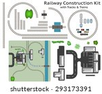 railway and station building... | Shutterstock .eps vector #293173391