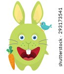 bunny with a huge carrot | Shutterstock .eps vector #293173541