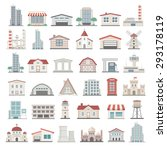 flat icons   buildings | Shutterstock .eps vector #293178119