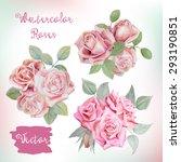 watercolor floral bouquets.... | Shutterstock .eps vector #293190851