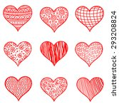 hand drawn sketch hearts for... | Shutterstock .eps vector #293208824