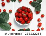 strawberry on a white wood... | Shutterstock . vector #293222255