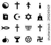 vector black religion icon set.  | Shutterstock .eps vector #293245439