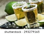 gold mexican tequila with lime... | Shutterstock . vector #293279165