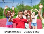 teens with arms up play... | Shutterstock . vector #293291459