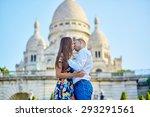 romantic couple kissing near... | Shutterstock . vector #293291561
