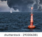 red buoy on water in a stormy... | Shutterstock . vector #293306381