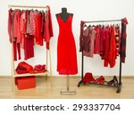 dressing closet with red... | Shutterstock . vector #293337704