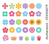 set of colorful flower... | Shutterstock .eps vector #293356079