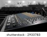soundboard with desaturated venue - stock photo