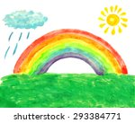 watercolor picture with rainbow ... | Shutterstock .eps vector #293384771