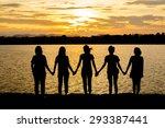 silhouette of five friends in... | Shutterstock . vector #293387441