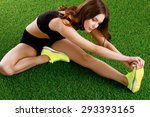 woman doing stretching...   Shutterstock . vector #293393165