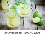 homemade lemonade with lime ... | Shutterstock . vector #293401205