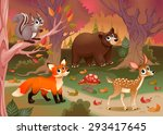 funny animals in the wood.... | Shutterstock .eps vector #293417645