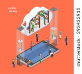 digital library flat isometric... | Shutterstock .eps vector #293432915