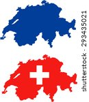 map of switzerland with flag | Shutterstock .eps vector #293435021