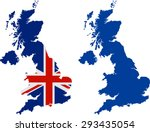 map of united kingdom with flag | Shutterstock .eps vector #293435054