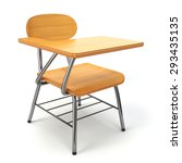 Wooden School Desk And Chair...