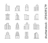 building thin line icons set  ... | Shutterstock .eps vector #293439179