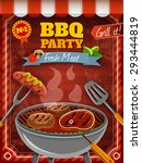 barbecue party poster with hot... | Shutterstock .eps vector #293444819