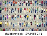 multiethnic casual people... | Shutterstock . vector #293455241